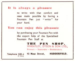 The Pen Shop, Wheatley, Dyson & Son Ltd., 12 New Street, Huddersfield (1952)