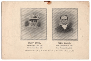Memorial pamphlet for Emily Lumb and Fred Hoyle of Sowerby Bridge.
