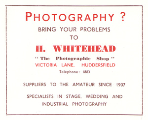 H. Whitehead, The Photographic Shop, Victoria Lane, Huddersfield (1952)
