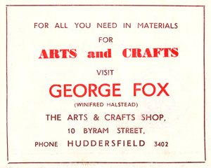 George Fox, The Arts and Crafts Shop, 10 Byram Street, Huddersifeld (1950)