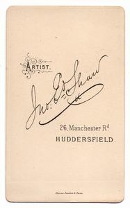 Jno. E. Shaw of 26 Manchester Road. Huddersfield