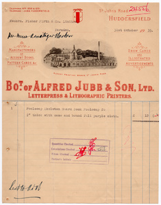 Alfred Jubb & Son, Ltd. of Albany Printing Works, Huddersfield.