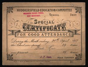 1927 Attendance Card