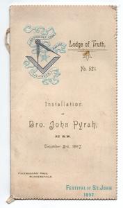 Installation of Bro. John Pyrah (1897)