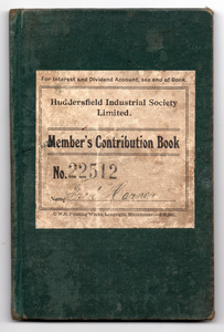 Member's Contribution Book for Huddersfield Industrial Society Limited.
