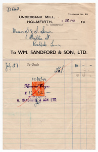 Wm. Sandford & Son Ltd. of Underbank Mill, Holmfirth.