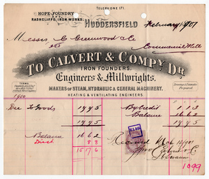 Calvert & Co. of Huddersfield.