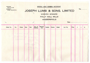 Joseph Lumb & Sons, Limited, of Folly Hall Mills, Huddersfield.