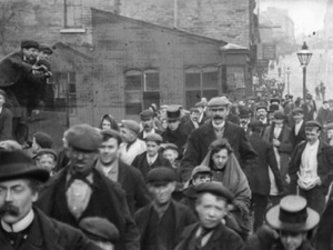 Employees of Messrs Lumb and Co. Leaving the Works, Huddersfield (1900)