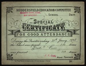 1928 Attendance Card