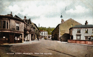 Holmfirth. Victoria Street from the Square. Yorkshire Penny Bank.jpg