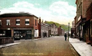 Holmfirth. Huddersfield Road by & showing A.Charlesworth, Britannia House.jpg