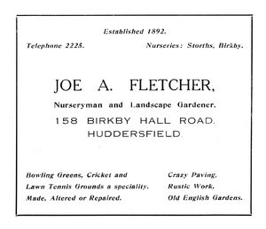 Joe A. Fletcher of Birkby Hall Road, Huddersfield.
