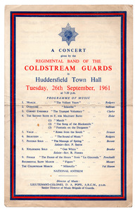 Coldstream Guards concert at Huddersfield Town Hall.