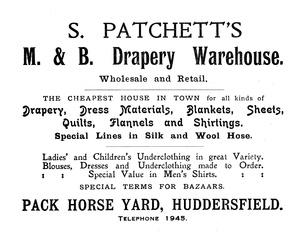 S. Patchett's M. & B. Drapery Warehouse
