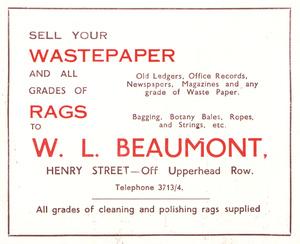 W.L. Beaumont, Henry Street, Huddersfield (1952)