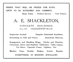 A.E. Shackleton of Kirkgate Buildings, Huddersfield.