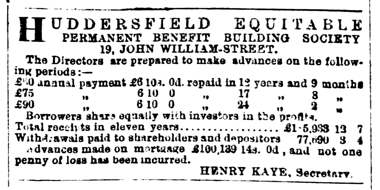 Huddersfield Chronicle 15 July 1876 Huddersfield Equitable Permanent Benefit Building Society.png