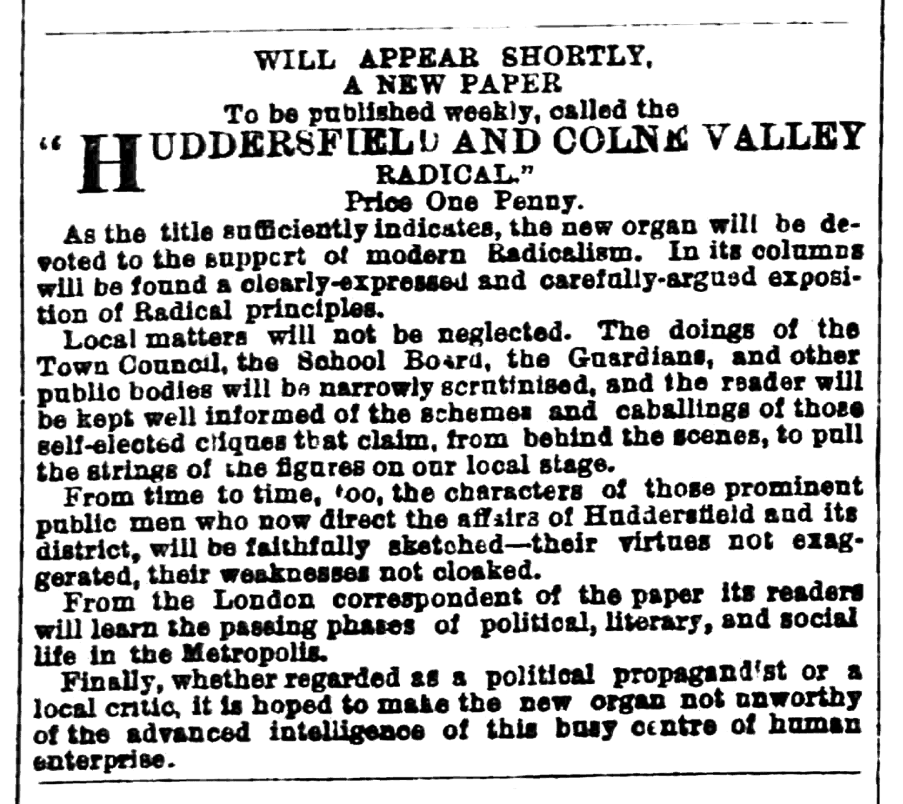 Huddersfield Chronicle 09 Jul 1881 - Public Notices, Huddersfield and Colne Valley Radical.png