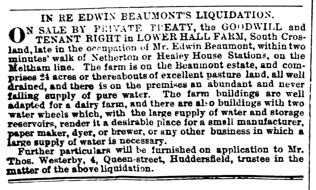 Huddersfield Chronicle 28 Dec 1872 - Edwin Beaumont's Liquidation.png