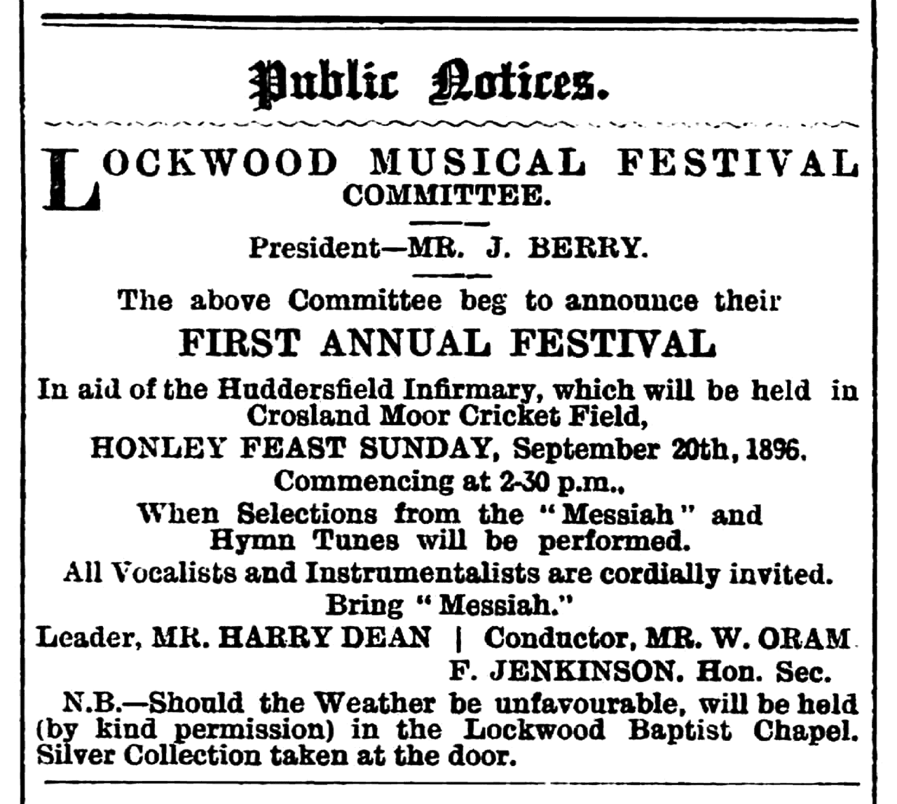 Huddersfield Chronicle 19 Sep 1896 - Public Notices, Lockwood Musical Fesitval.png