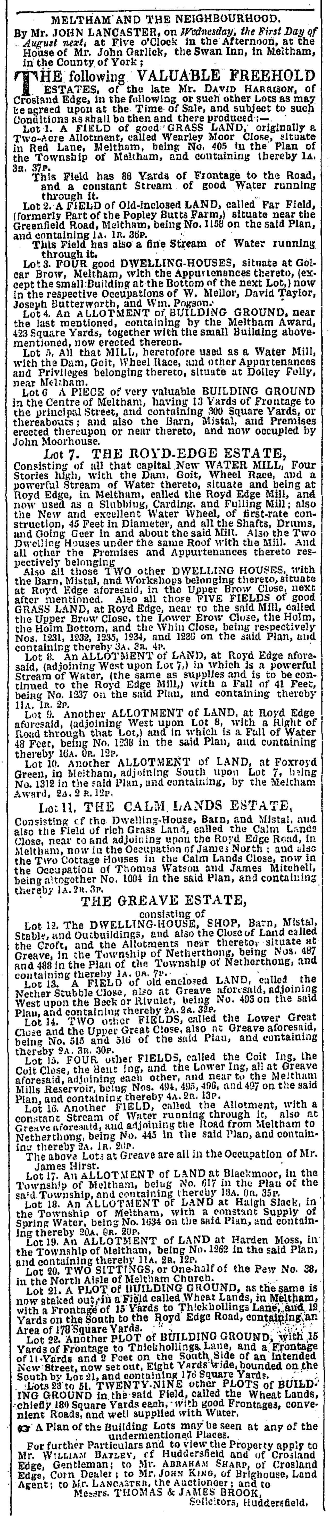 Leeds Mercury, Saturday, July 28, 1838 - auction of land in Meltham.png