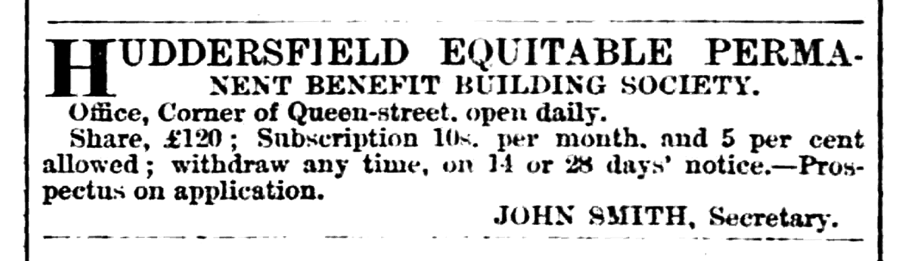Huddersfield Chronicle 14 January 1865 Huddersfield Equitable Permanent Benefit Building Society.png