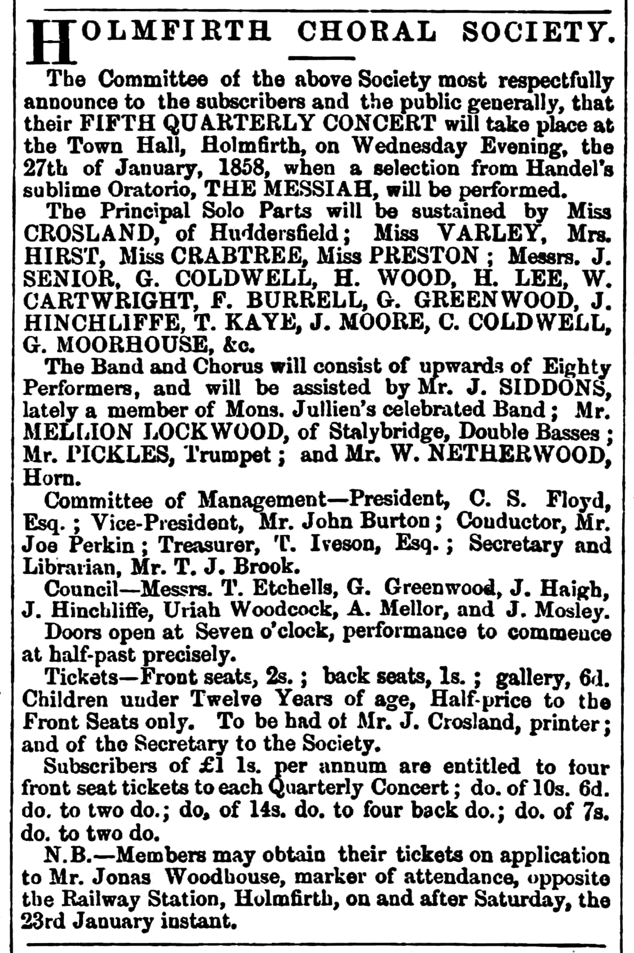 Huddersfield Chronicle 23 Jan 1858 - Holmfirth Choral Society.png