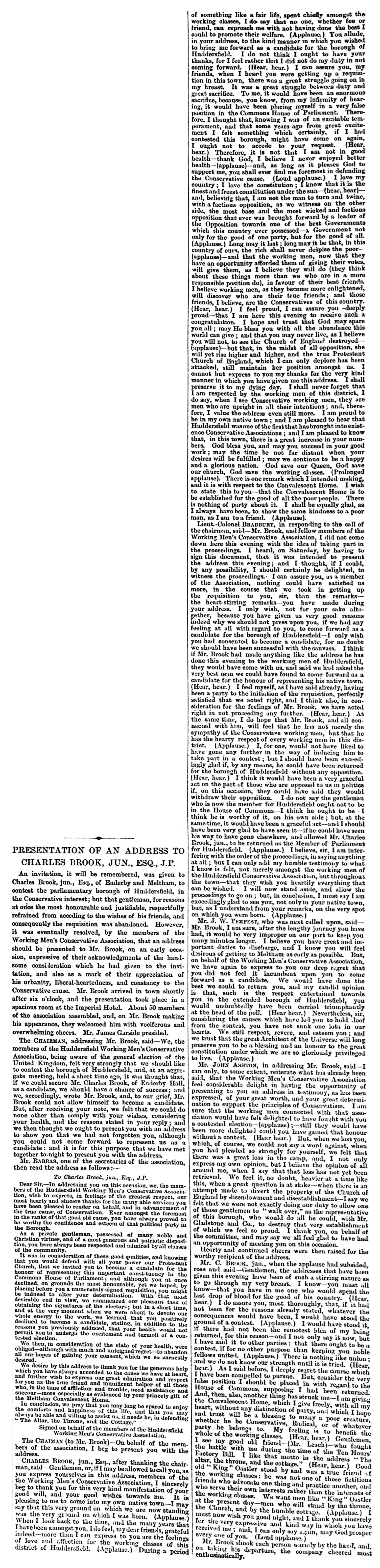 Huddersfield Chronicle 31 Oct 1868 - Presentation of an Address to Charles Brook.png