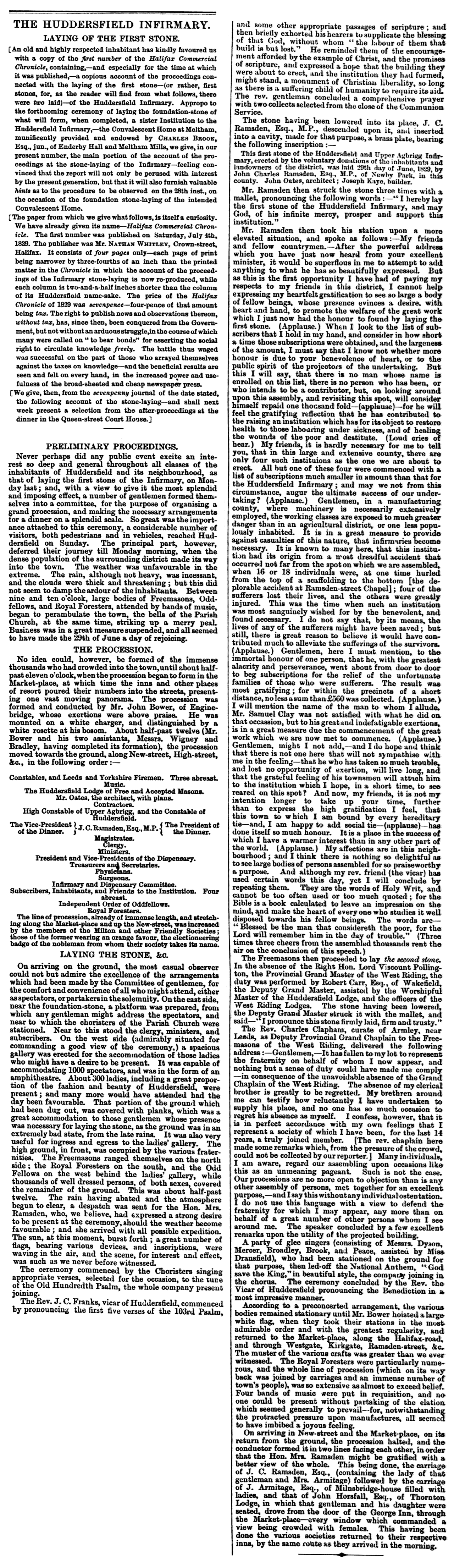 Huddersfield Chronicle 17 October 1868 - The Huddersfield Infirmary.png