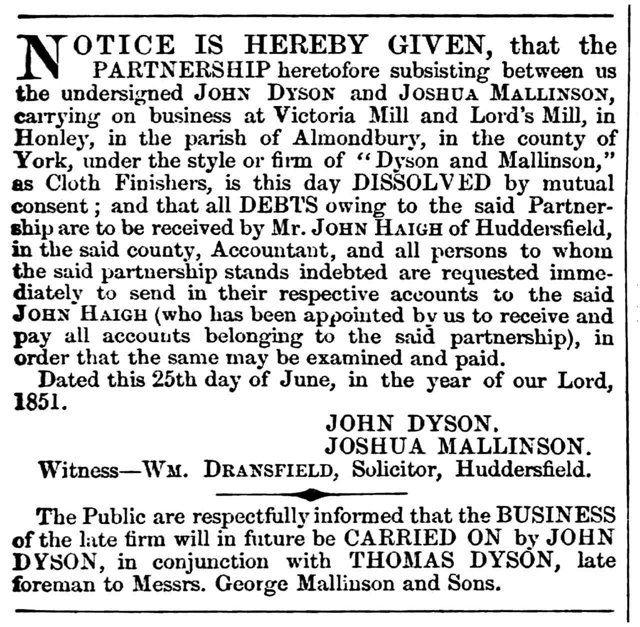 Huddersfield Chronicle 5 July 1851 - Legal Notices.png
