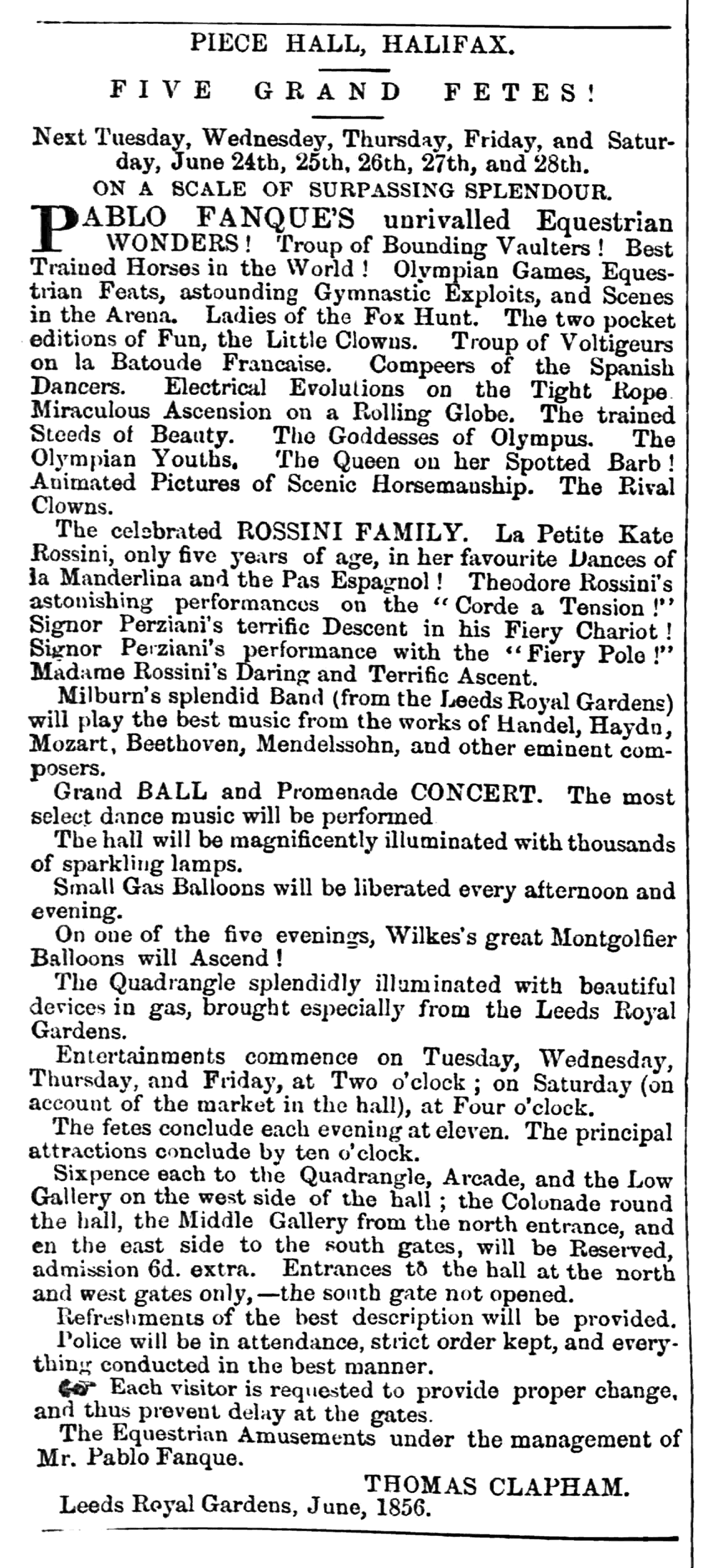 Huddersfield Chronicle 21 June 1856 - Public Notices, Pablo Fanque.png