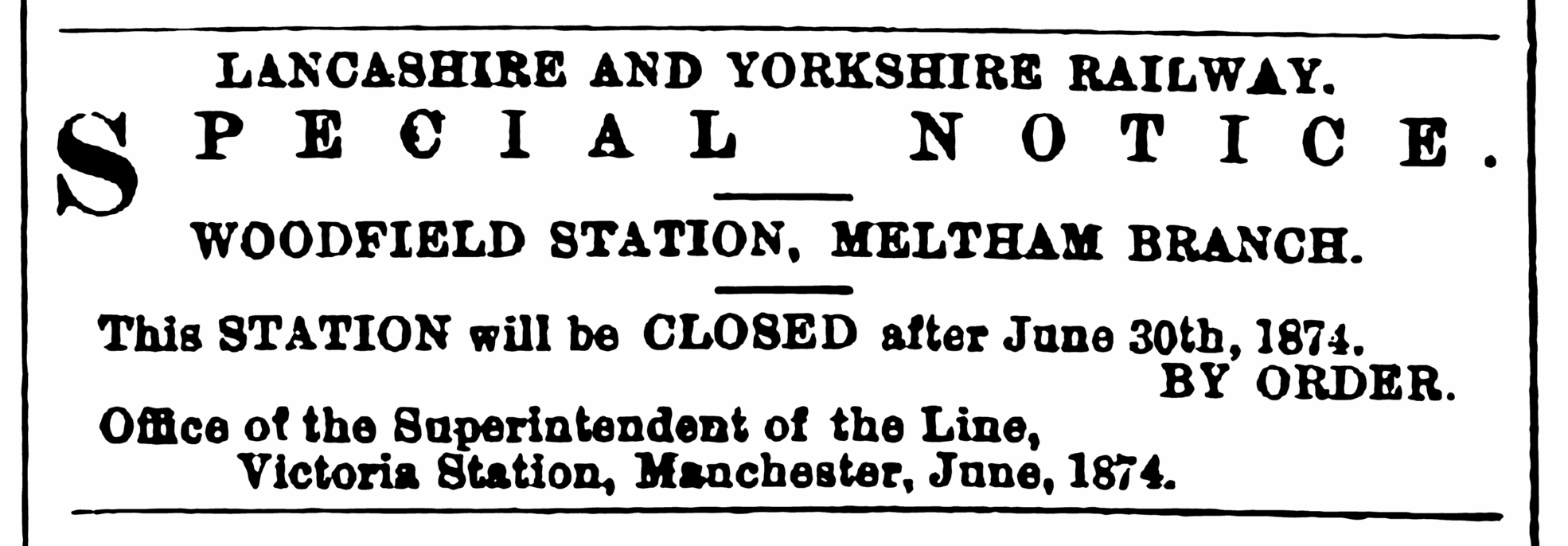 Huddersfield Chronicle 20 June 1874 - Closeure of Woodfield-Station.png