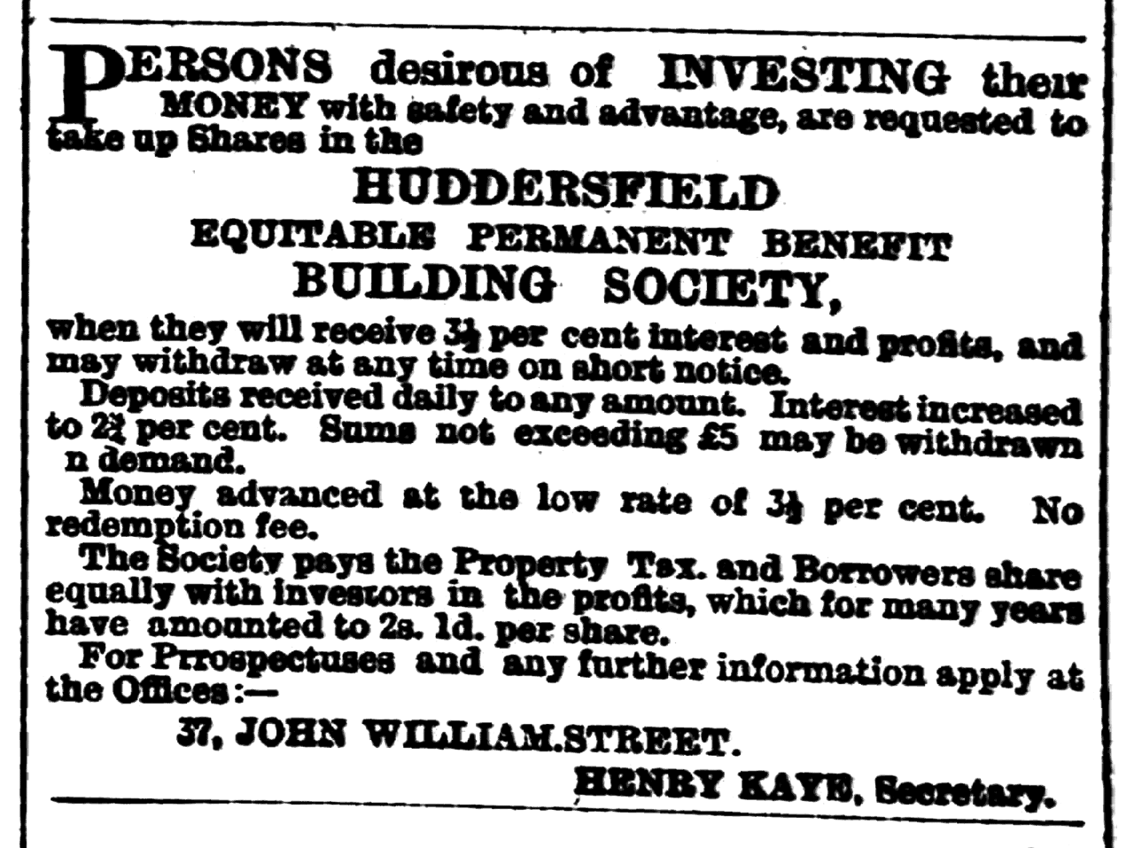 Huddersfield Chronicle 11 August 1900 Huddersfield Equitable Permanent Benefit Building Society.png