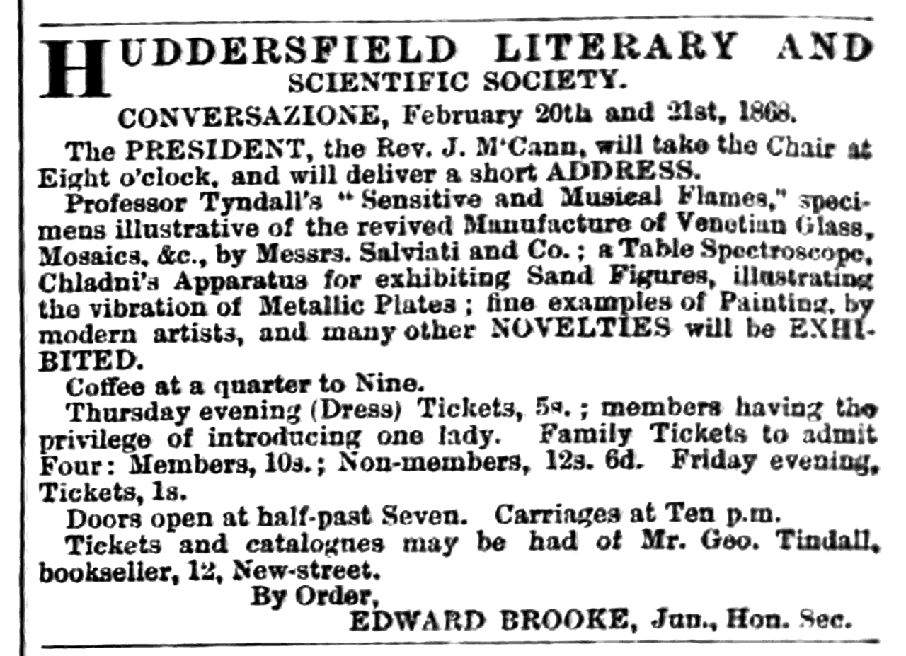 Huddersfield Chronicle 15 February 1868 Huddersfield Literary and Scientific Society.png