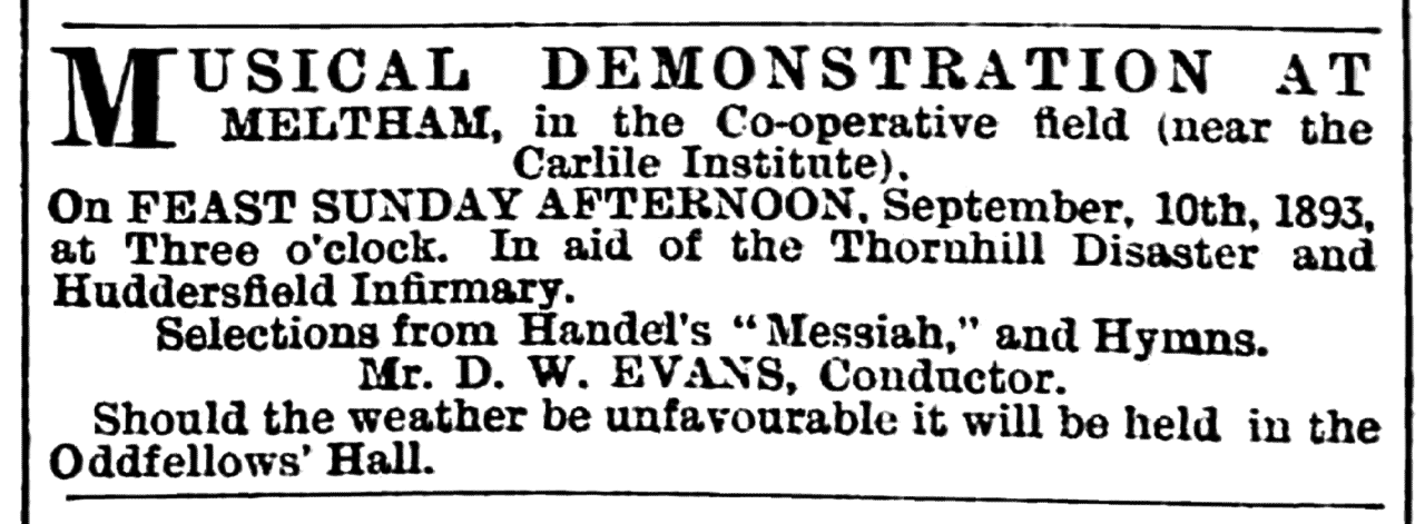 Huddersfield Chronicle 09 September 1893 - Notice, Musical Demonstration.png