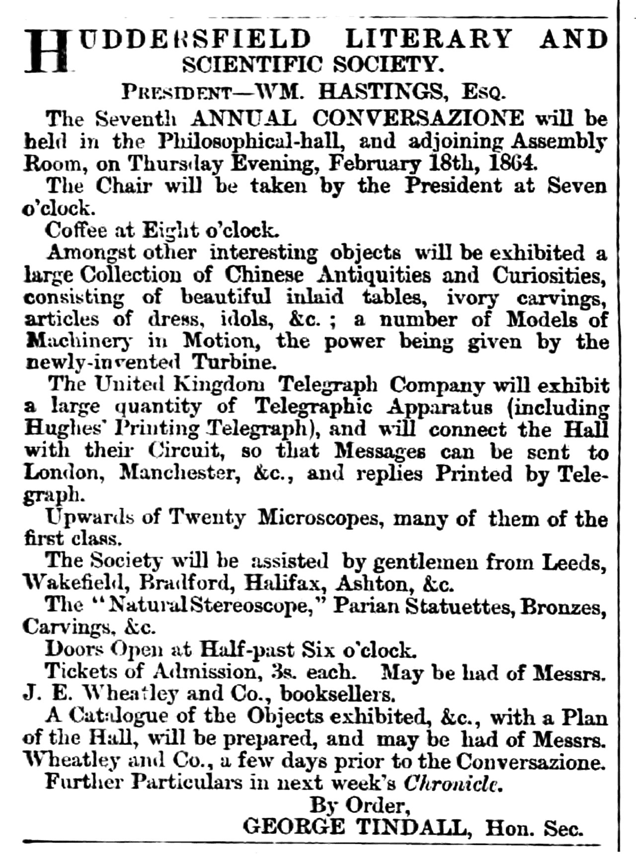 Huddersfield Chronicle 06 February 1864 Huddersfield Literary and Scientific Society.png