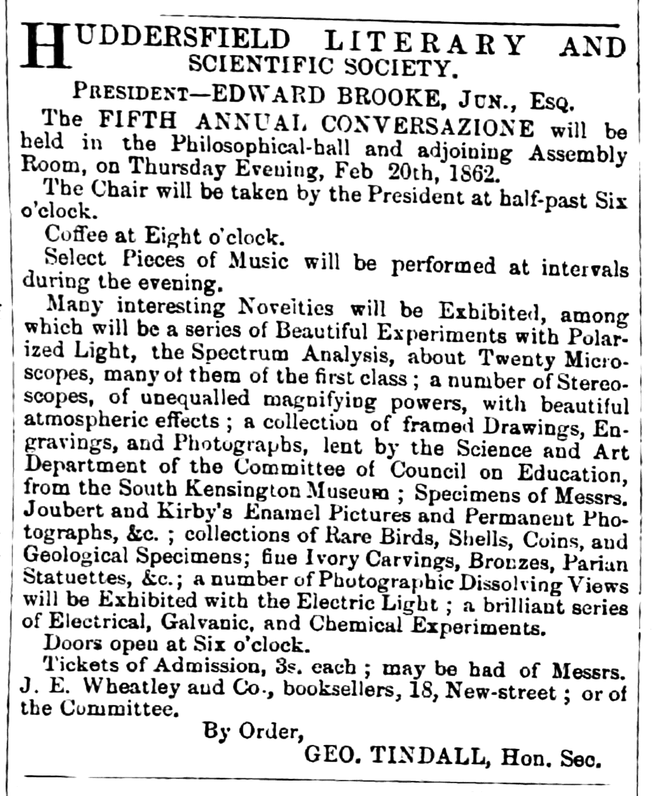 Huddersfield Chronicle 15 February 1862 Huddersfield Literary and Scientific Society.png