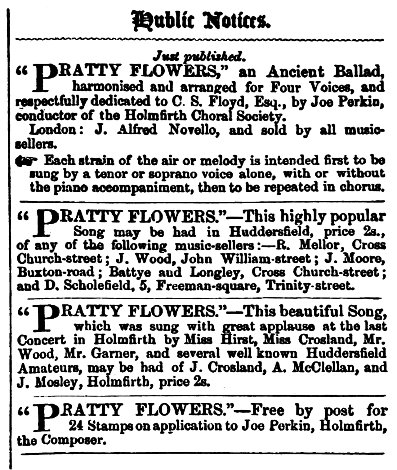 Huddersfield Chronicle 02 January 1858 - Public Notices, Pratty Flowers.png