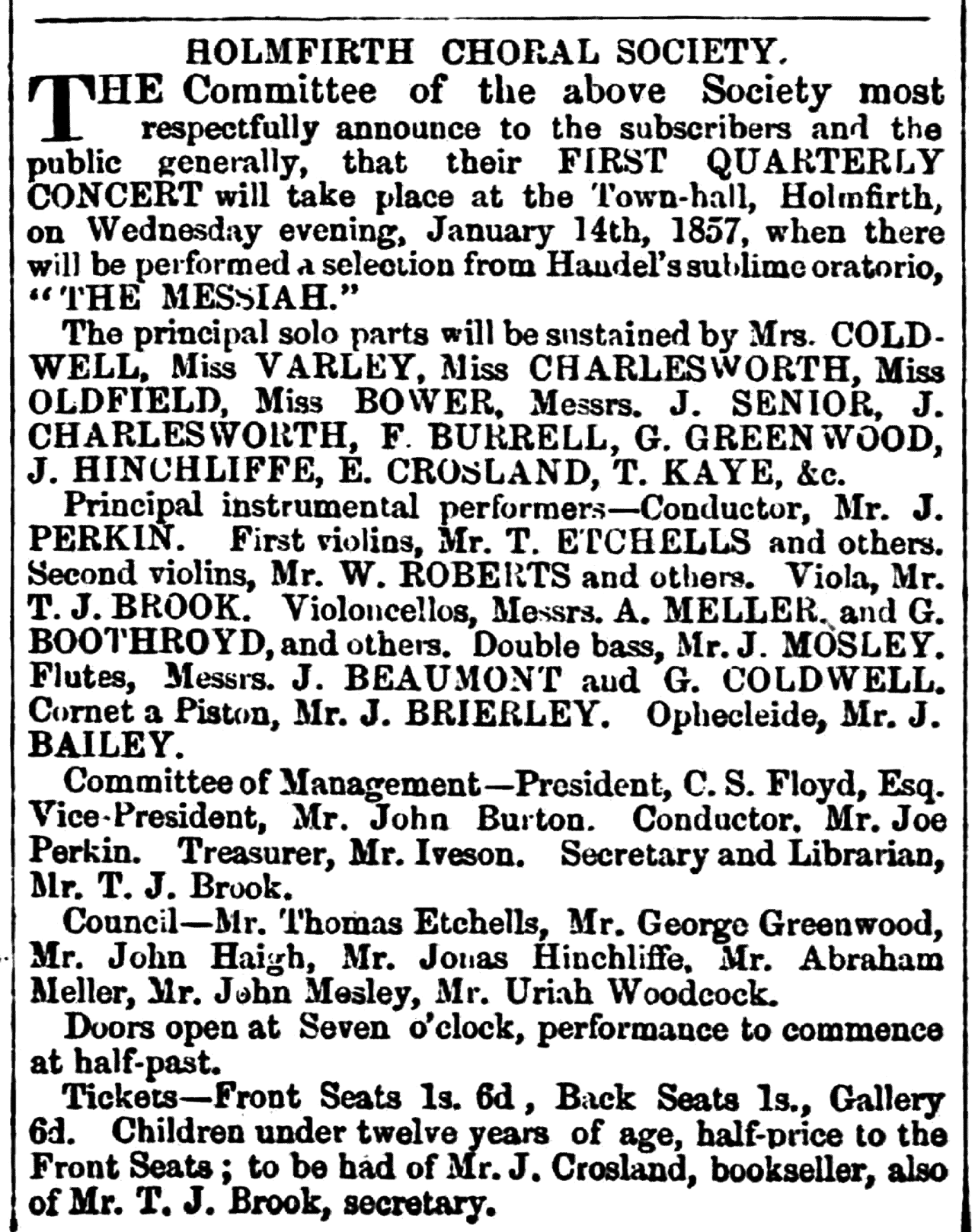 Huddersfield Chronicle 10 Jan 1857 - Holmfirth Choral Society.png