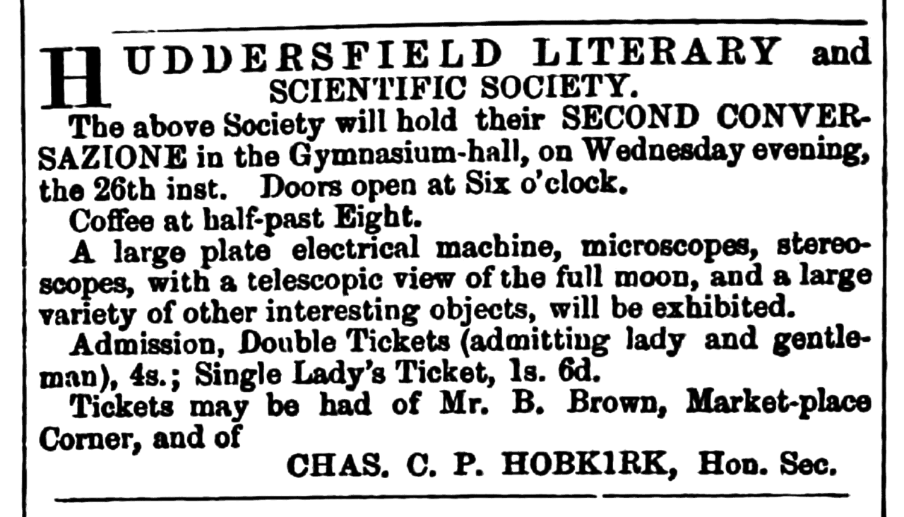 Huddersfield Chronicle 15 January 1859 - Huddersfield Literary and Scientific Society.png
