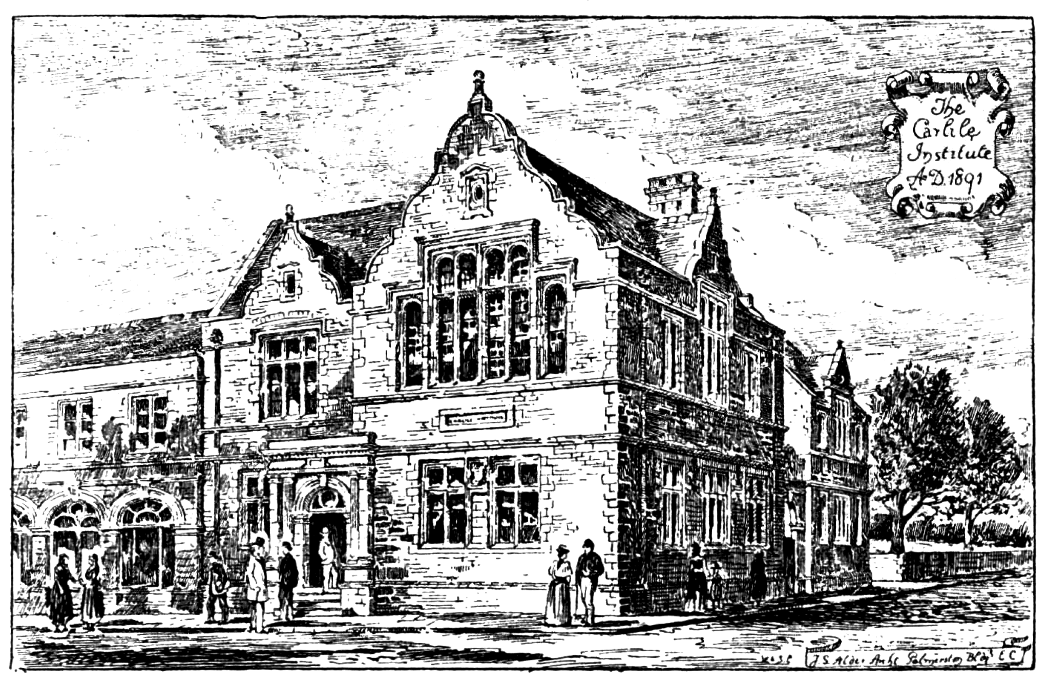 Drawing of the Carlile Institute by architect John Samuel Alder (1848-1919) of London.