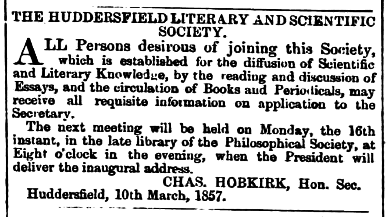 Huddersfield Chronicle 14 March 1857 - Huddersfield Literary and Scientific Society.png