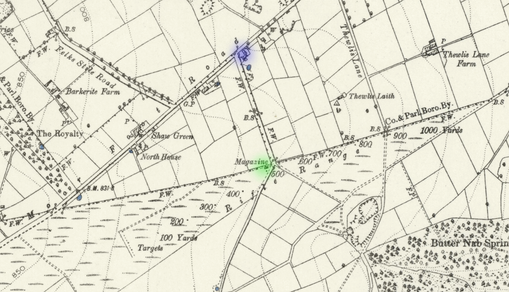 1892 map showing the location where Vizzard's body was found (shaded in green)