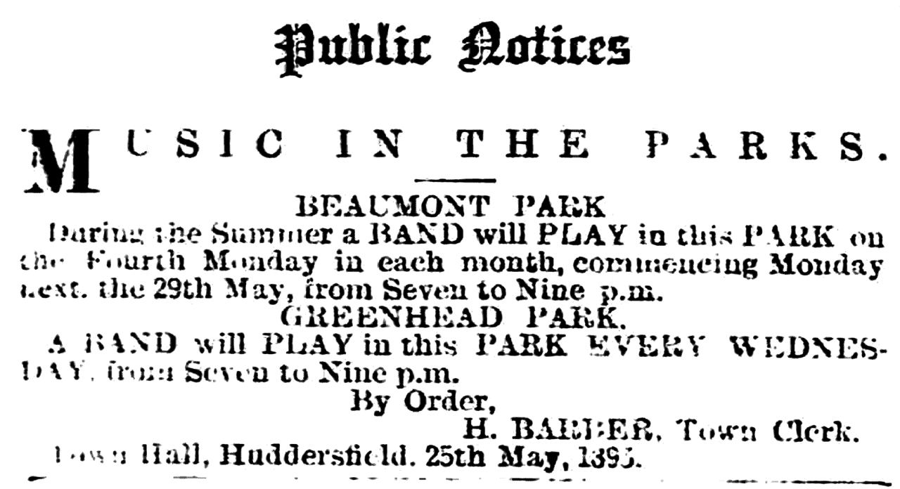 Huddersfield Chronicle 27 May 1893 - Public Notices, Music in the Parks.png