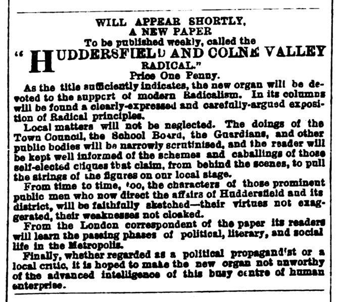 File:Huddersfield Chronicle 09 Jul 1881 - Public Notices, Huddersfield and Colne Valley Radical.png