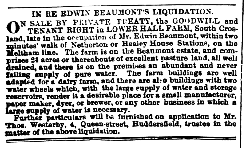 File:Huddersfield Chronicle 28 Dec 1872 - Edwin Beaumont's Liquidation.png