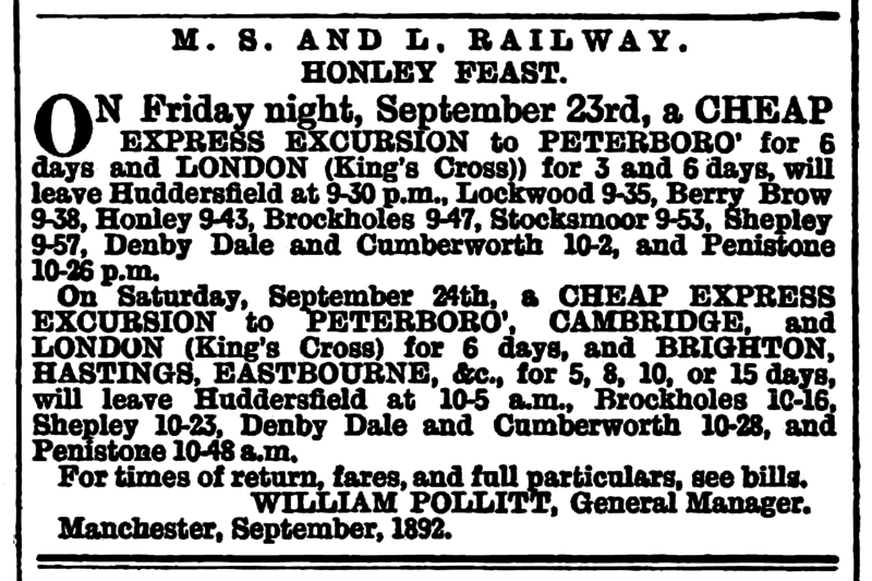 File:Huddersfield Daily Chronicle 13 Sep 1892 - Railway Notices, Honley Feast.png