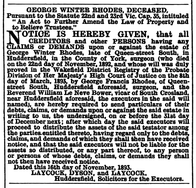 File:Huddersfield Chronicle 18 Nov 1893 - Legal Notices.png