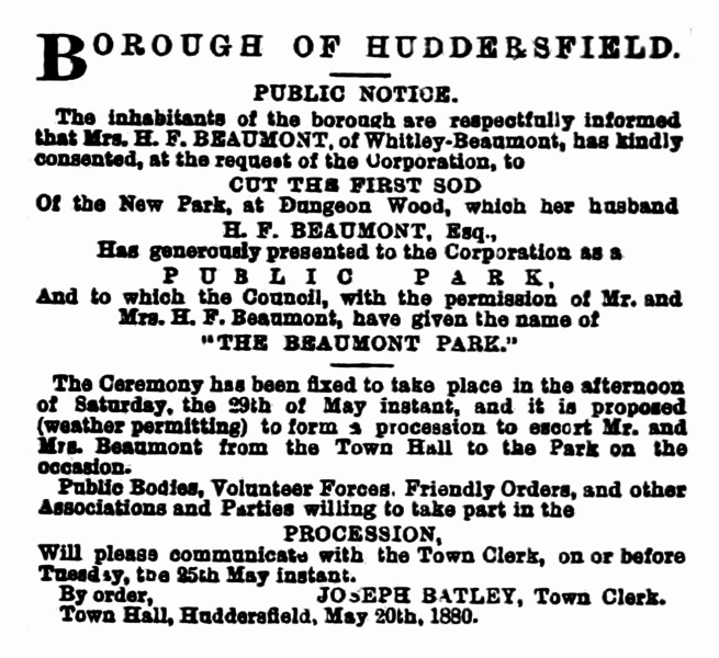 File:Huddersfield Chronicle 22 May 1880 - Public Notice, Beaumont Park.png